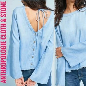 Cloth and Stone Chambray button back top